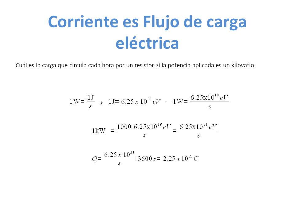 Corriente es Flujo de carga eléctrica Cuál es la carga que circula cada hora por un resistor si la potencia aplicada es un kilovatio