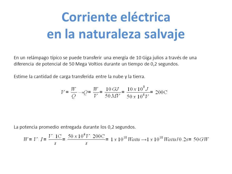 Corriente eléctrica en la naturaleza salvaje En un relámpago típico se puede transferir una energía de 10 Giga julios a través de una diferencia de potencial de 50 Mega Voltios durante un tiempo de 0,2 segundos.