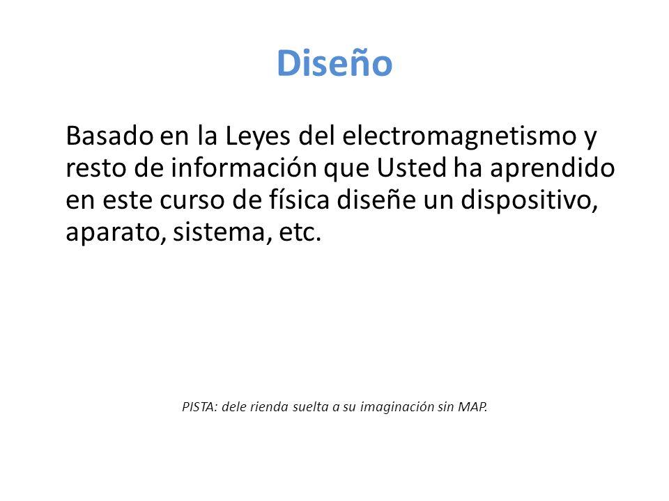 Diseño Basado en la Leyes del electromagnetismo y resto de información que Usted ha aprendido en este curso de física diseñe un dispositivo, aparato, sistema, etc.