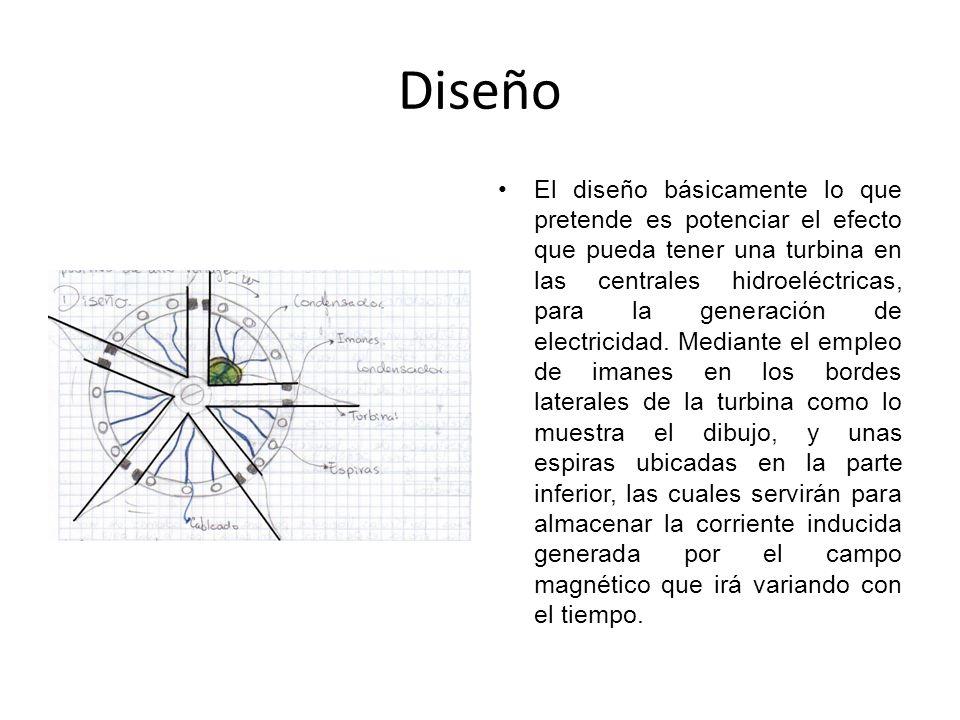 Diseño El diseño básicamente lo que pretende es potenciar el efecto que pueda tener una turbina en las centrales hidroeléctricas, para la generación de electricidad.