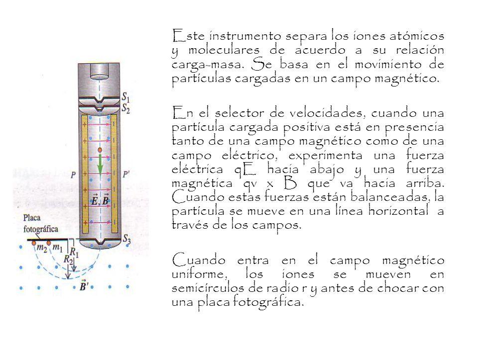 Este instrumento separa los iones atómicos y moleculares de acuerdo a su relación carga-masa.