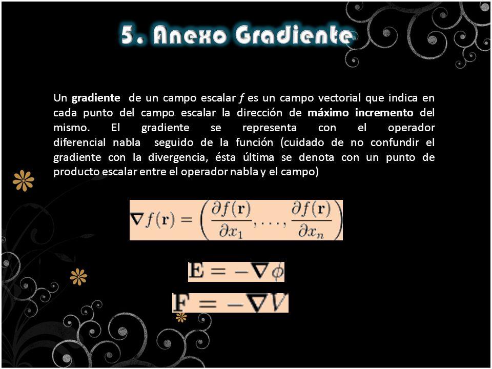 Un gradiente de un campo escalar f es un campo vectorial que indica en cada punto del campo escalar la dirección de máximo incremento del mismo. El gr