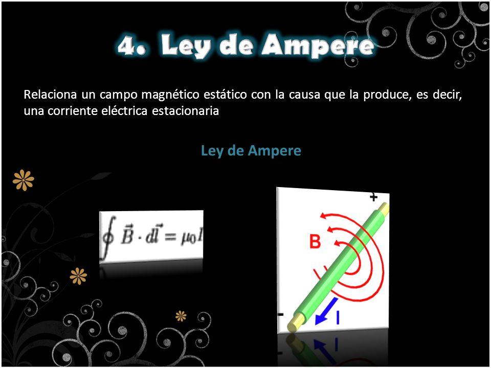 Relaciona un campo magnético estático con la causa que la produce, es decir, una corriente eléctrica estacionaria. Ley de Ampere