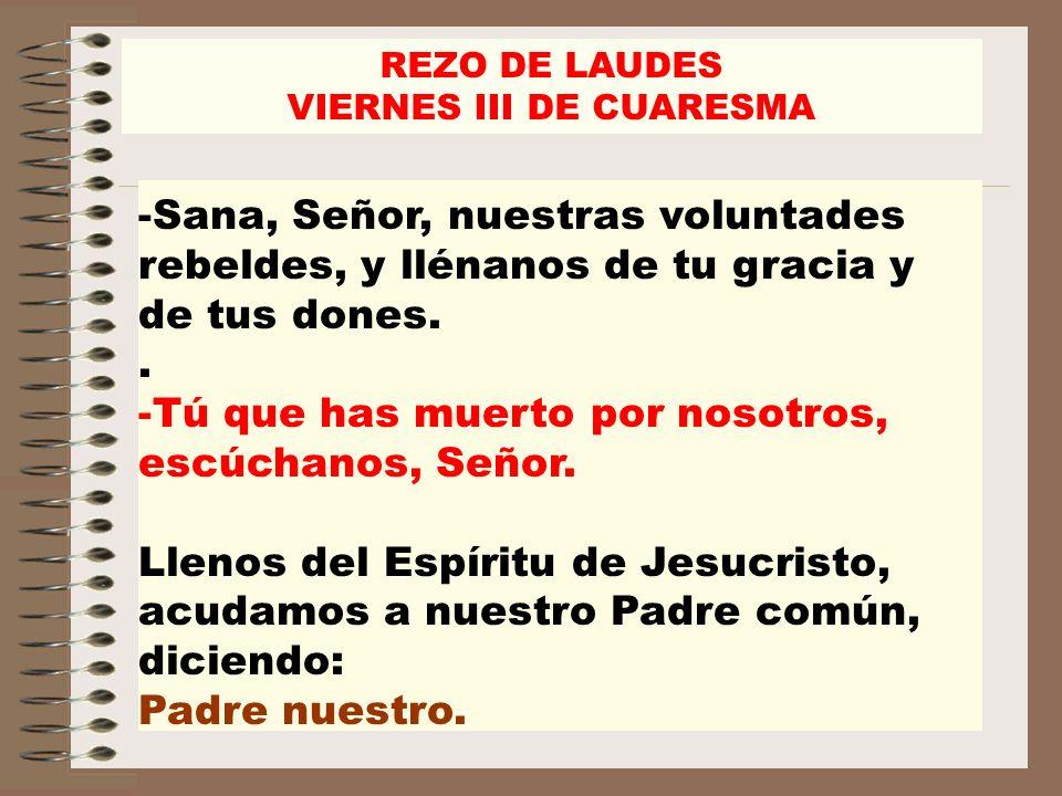 REZO DE LAUDES VIERNES III DE CUARESMA -Sana, Señor, nuestras voluntades rebeldes, y llénanos de tu gracia y de tus dones.. -Tú que has muerto por nos