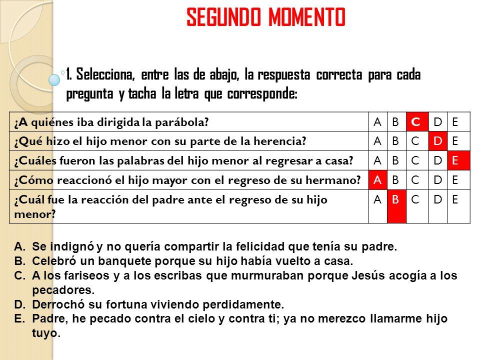 SEGUNDO MOMENTO 1. Selecciona, entre las de abajo, la respuesta correcta para cada pregunta y tacha la letra que corresponde: ¿A quiénes iba dirigida