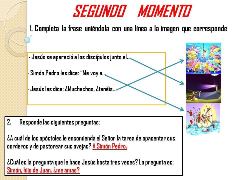 SEGUNDO MOMENTO · Jesús se apareció a los discípulos junto al... · Simón Pedro les dice: Me voy a… · Jesús les dice: ¿Muchachos, ¿tenéis… 1. Completa