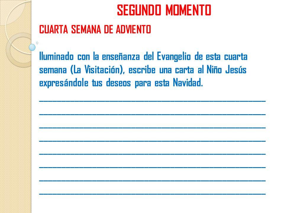 SEGUNDO MOMENTO CUARTA SEMANA DE ADVIENTO Iluminado con la enseñanza del Evangelio de esta cuarta semana (La Visitación), escribe una carta al Niño Je