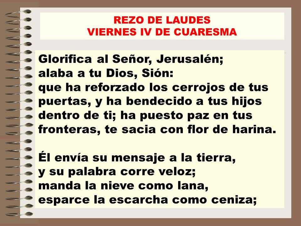 Glorifica al Señor, Jerusalén; alaba a tu Dios, Sión: que ha reforzado los cerrojos de tus puertas, y ha bendecido a tus hijos dentro de ti; ha puesto