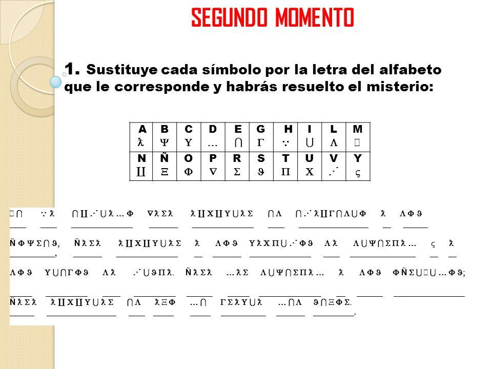 SEGUNDO MOMENTO 1. Sustituye cada símbolo por la letra del alfabeto que le corresponde y habrás resuelto el misterio: A B C D E G H I L MAMA N Ñ O P R