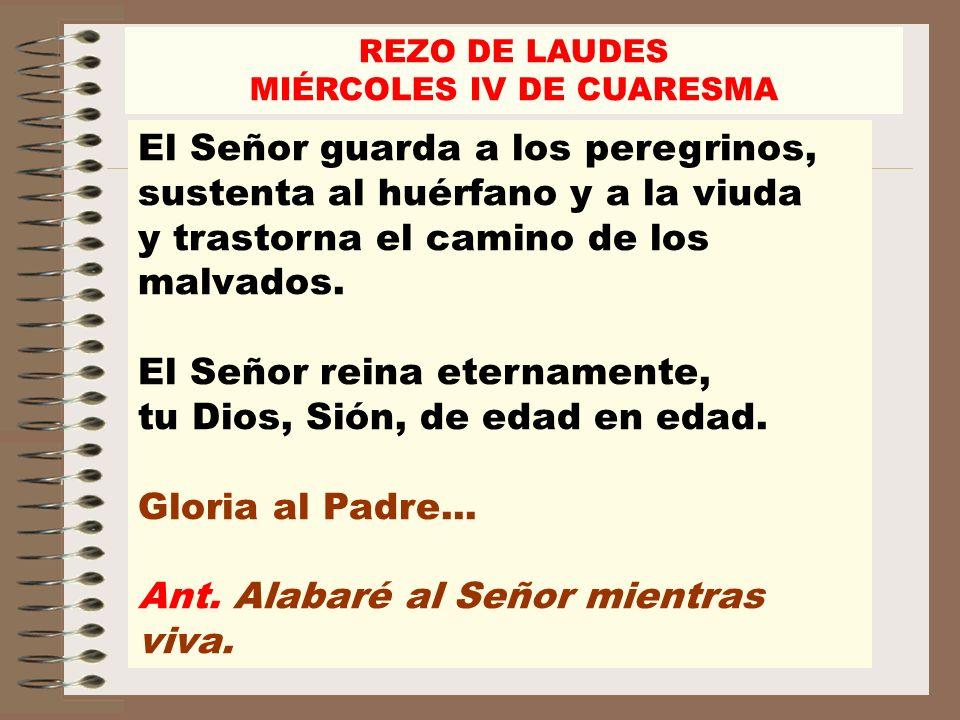 El Señor guarda a los peregrinos, sustenta al huérfano y a la viuda y trastorna el camino de los malvados. El Señor reina eternamente, tu Dios, Sión,