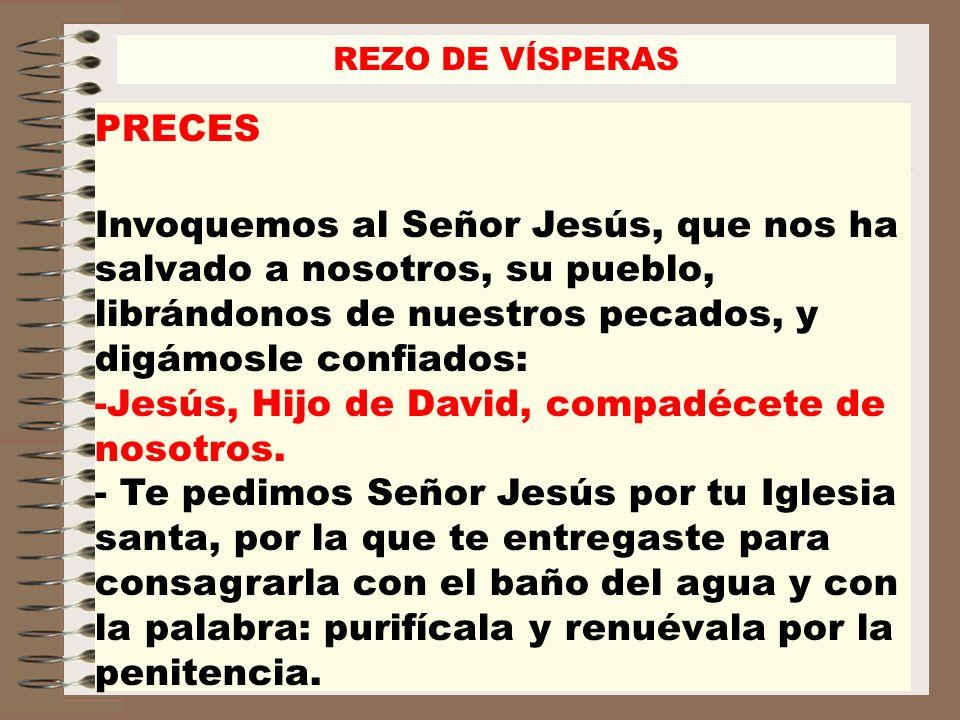 PRECES Invoquemos al Señor Jesús, que nos ha salvado a nosotros, su pueblo, librándonos de nuestros pecados, y digámosle confiados: -Jesús, Hijo de Da