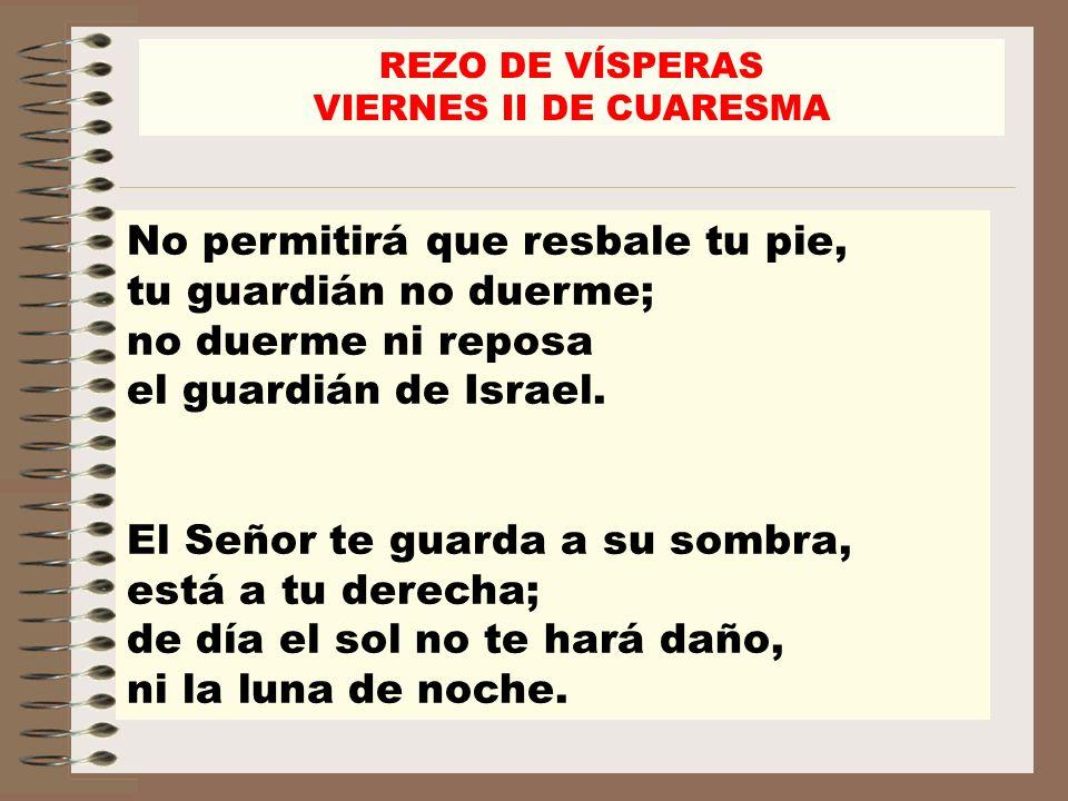 No permitirá que resbale tu pie, tu guardián no duerme; no duerme ni reposa el guardián de Israel. El Señor te guarda a su sombra, está a tu derecha;
