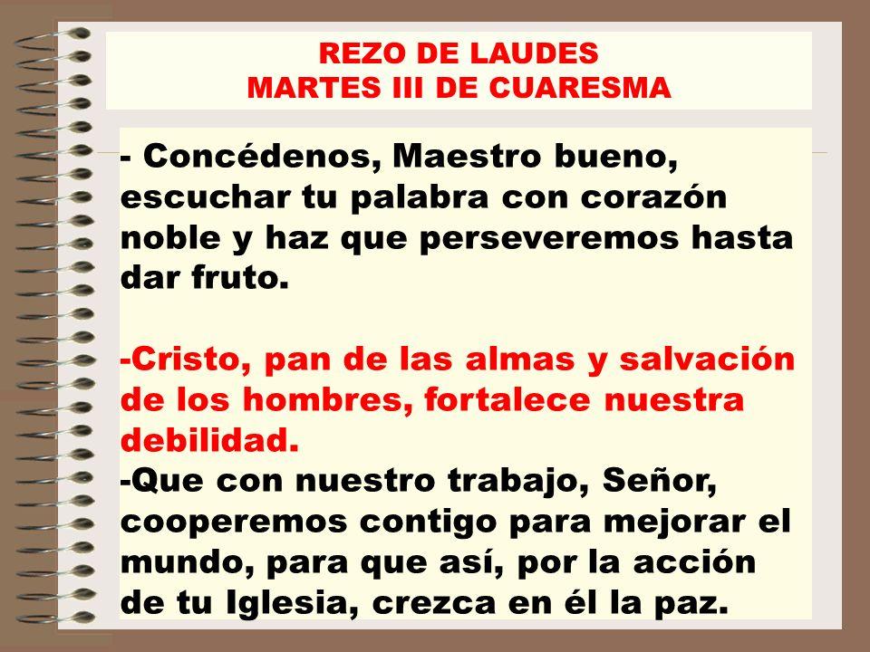 REZO DE LAUDES MARTES III DE CUARESMA - Concédenos, Maestro bueno, escuchar tu palabra con corazón noble y haz que perseveremos hasta dar fruto. -Cris