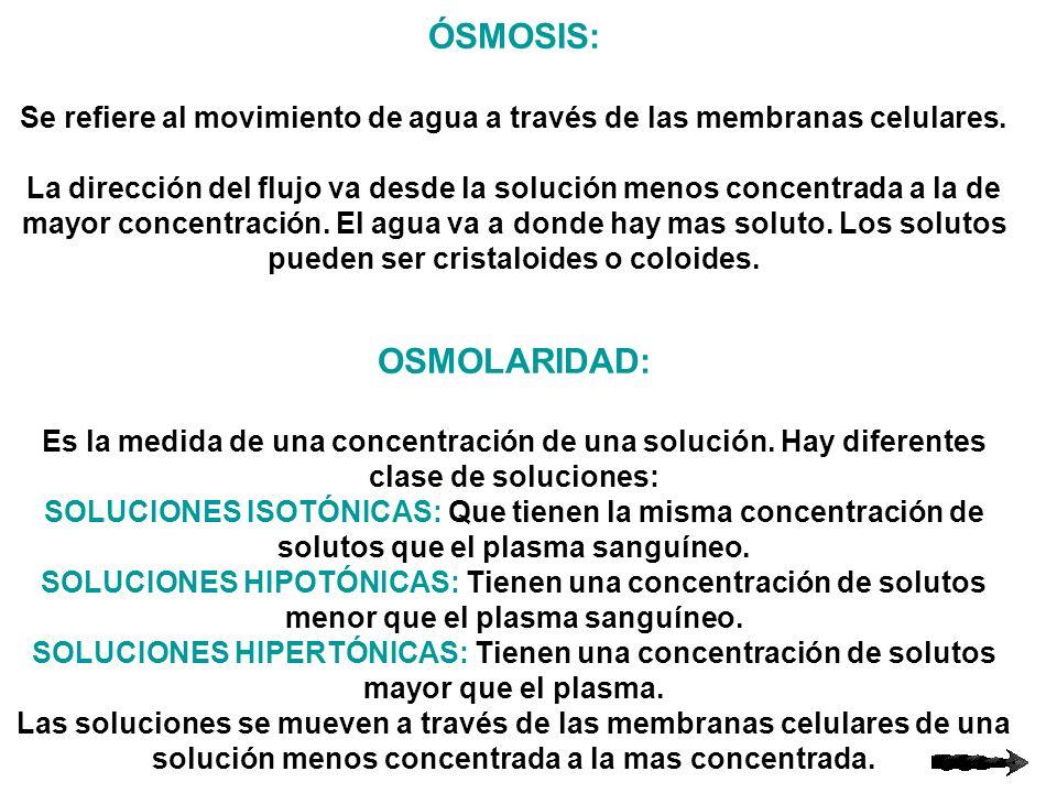 ÓSMOSIS: Se refiere al movimiento de agua a través de las membranas celulares. La dirección del flujo va desde la solución menos concentrada a la de m