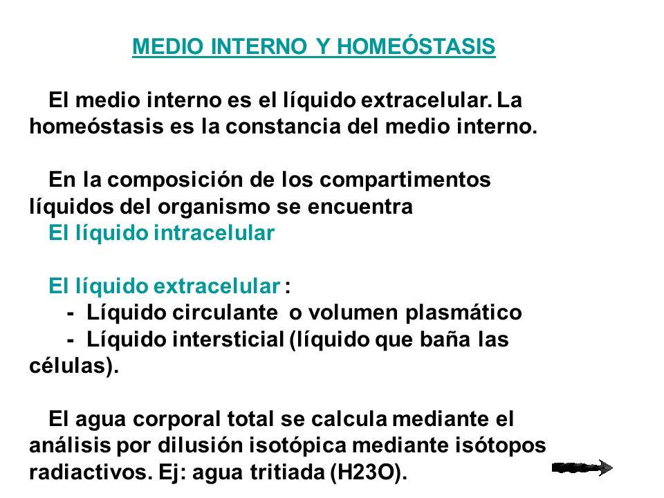 MEDIO INTERNO Y HOMEÓSTASIS El medio interno es el líquido extracelular. La homeóstasis es la constancia del medio interno. En la composición de los c