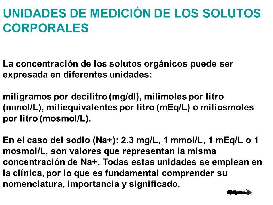 UNIDADES DE MEDICIÓN DE LOS SOLUTOS CORPORALES La concentración de los solutos orgánicos puede ser expresada en diferentes unidades: miligramos por de
