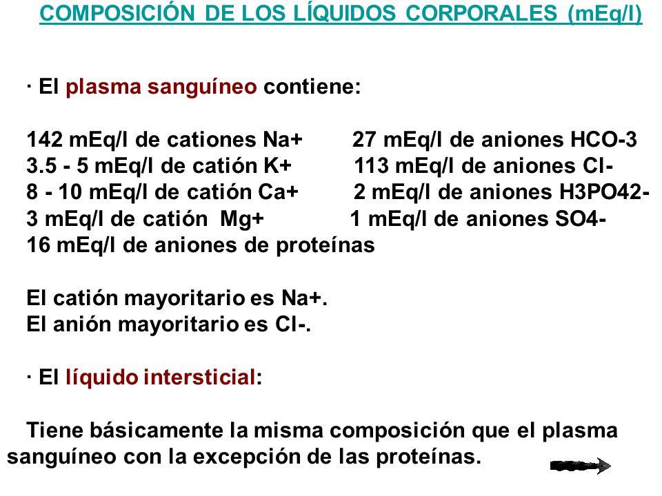 El líquido celular 157 mEq/l de catión K+ 113 mEq/l de anión PO43- 14 mEq/l de catión Na+ 74 mEq/l de proteínas 26 mEq/l de catión Mg2+ 10 mEq/l de anión HCO3-