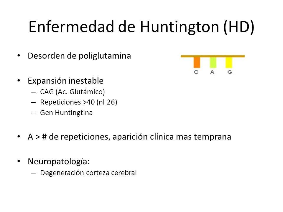 Enfermedad de Huntington (HD) Herencia dominante Dominancia intermedia Edad variable de aparición Anticipación – Transmisión paterna Penetrancia dependiente edad (según repeticiones) Premutaciones – 29-35 CAG