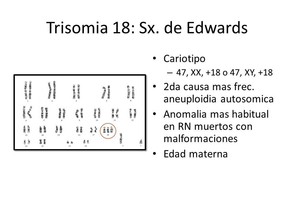 Trisomia 18: Sx. de Edwards Cariotipo – 47, XX, +18 o 47, XY, +18 2da causa mas frec. aneuploidia autosomica Anomalia mas habitual en RN muertos con m