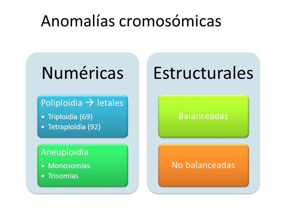 Numéricas Poliploidia letales Triploidia (69) Tetraploidia (92) Aneuploidia Monosomias Trisomias Estructurales BalanceadasNo balanceadas Anomalías cro