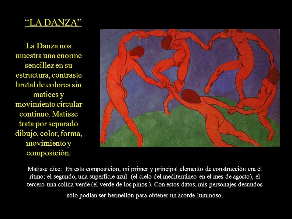 LA DANZA La Danza nos muestra una enorme sencillez en su estructura, contraste brutal de colores sin matices y movimiento circular contínuo. Matisse t