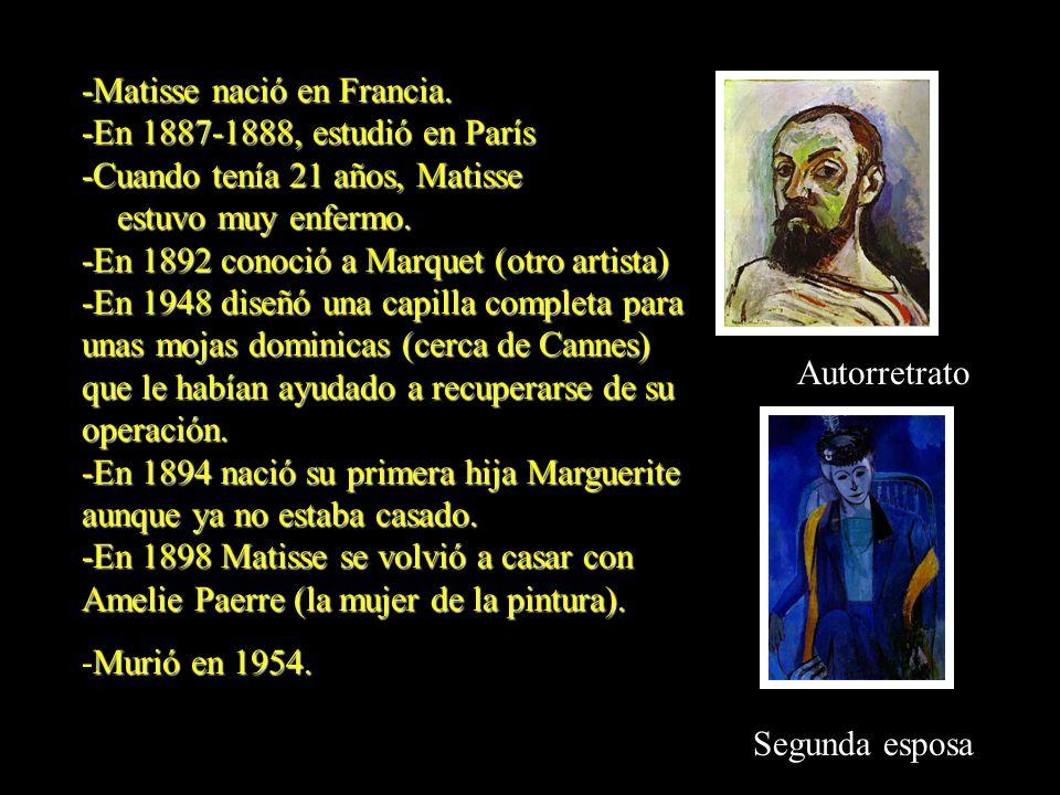 Autorretrato -Matisse nació en Francia. -En 1887-1888, estudió en París -Cuando tenía 21 años, Matisse estuvo muy enfermo. estuvo muy enfermo. -En 189