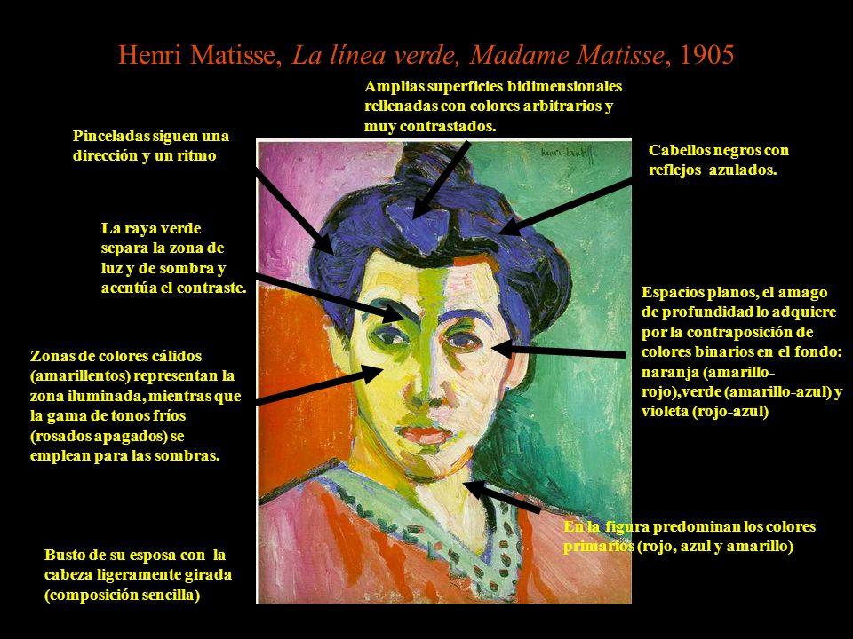Henri Matisse, La línea verde, Madame Matisse, 1905 En la figura predominan los colores primarios (rojo, azul y amarillo) Amplias superficies bidimens