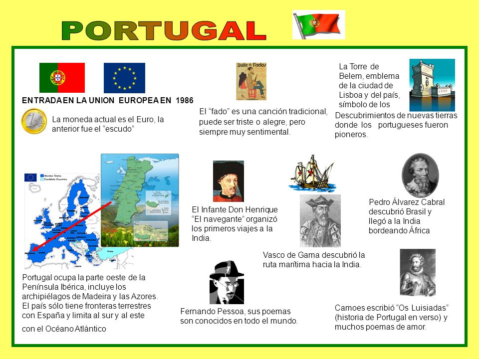 ENTRADA EN LA UNION EUROPEA EN 1986 La moneda actual es el Euro, la anterior fue el escudo Pedro Álvarez Cabral descubrió Brasil y llegó a la India bo