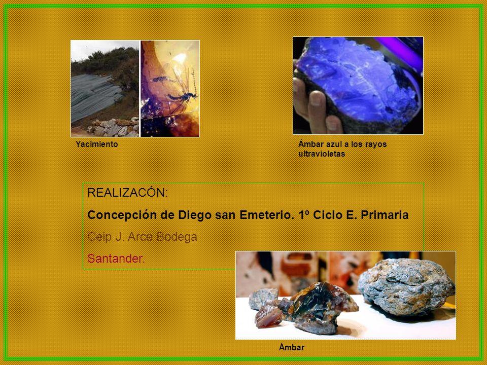 REALIZACÓN: Concepción de Diego san Emeterio. 1º Ciclo E. Primaria Ceip J. Arce Bodega Santander. YacimientoÁmbar azul a los rayos ultravioletas Ámbar
