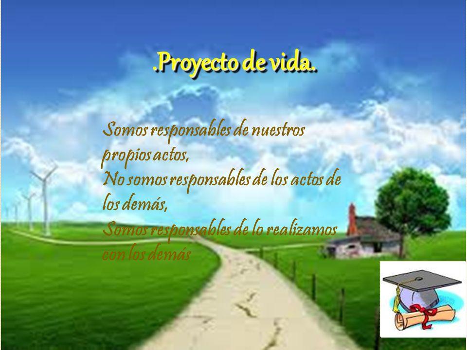 .Proyecto de vida..Proyecto de vida. Somos responsables de nuestros propios actos, No somos responsables de los actos de los demás, Somos responsables