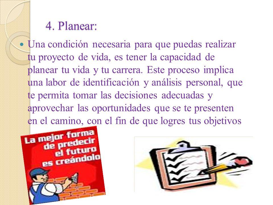 4. Planear: Una condición necesaria para que puedas realizar tu proyecto de vida, es tener la capacidad de planear tu vida y tu carrera. Este proceso
