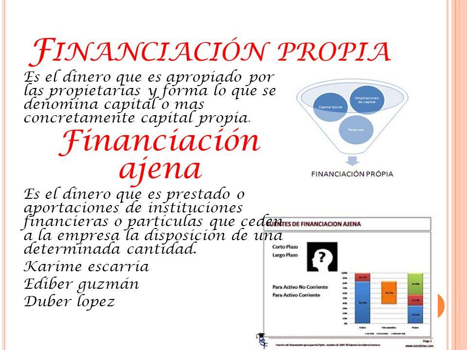 F ORMAS DE FINANCIACIÓN Dentro de las dos grande vías o fuentes de financiación hay a su vez diversa formas para obtener dinero.