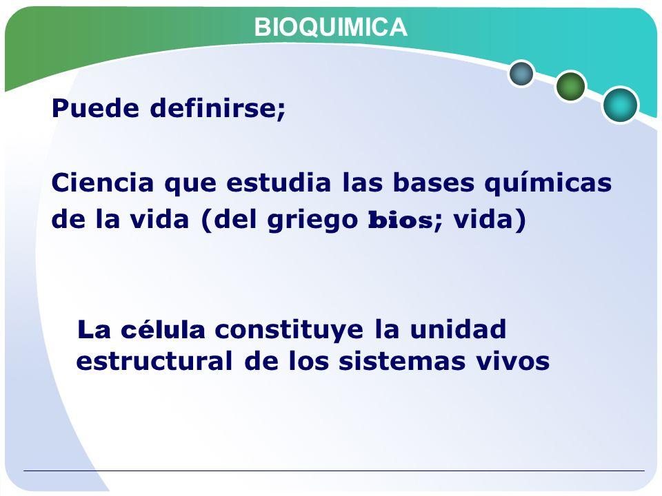 BIOQUIMICA Es el estudio de; 1.La composición molecular de las células vivas 2.Las reacciones químicas que sufren los compuestos biológicos 3.La regulación de estas reacciones