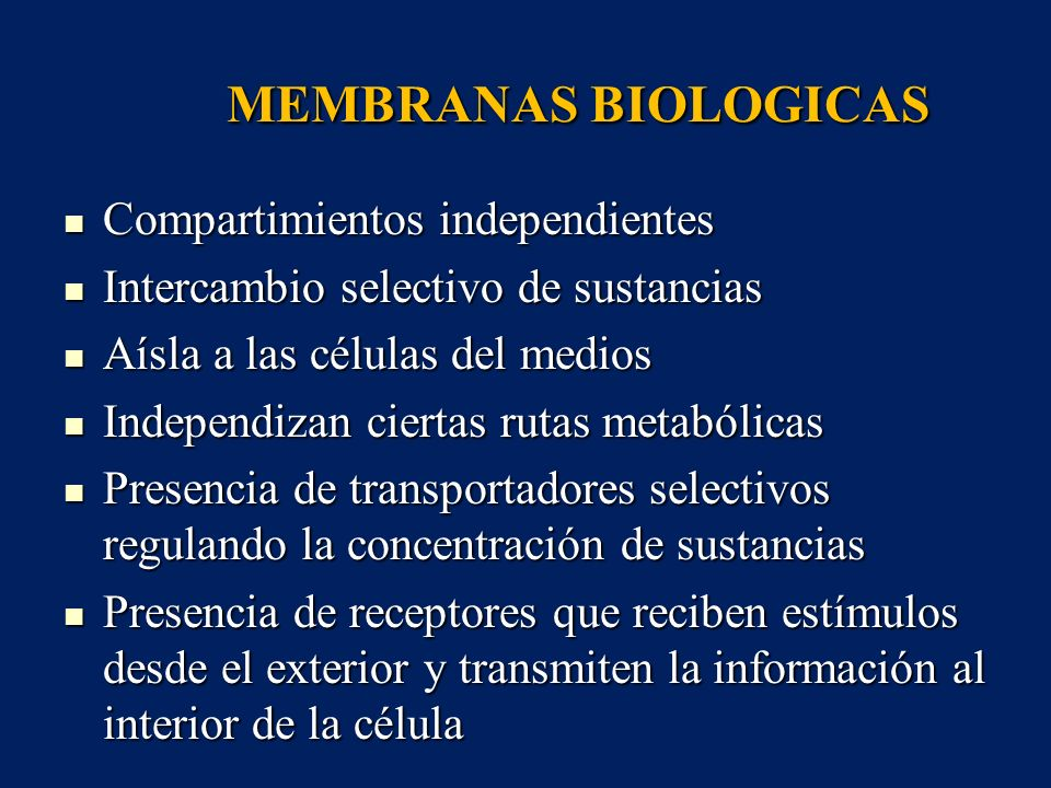 MEMBRANA PLASMATICA LIPIDOS DE LA MEMBRANA Permeabilidad selectiva : Permeabilidad selectiva : Las cadenas hidrocarbonadas proporcionan una barrera impermeable al transporte de sustancias iónicas y polares Las cadenas hidrocarbonadas proporcionan una barrera impermeable al transporte de sustancias iónicas y polares Las proteínas especificas regulan el movimiento de esas sustancias dentro y fueran de la célula Las proteínas especificas regulan el movimiento de esas sustancias dentro y fueran de la célula Movimiento de sustancias polares Movimiento de sustancias polares a.