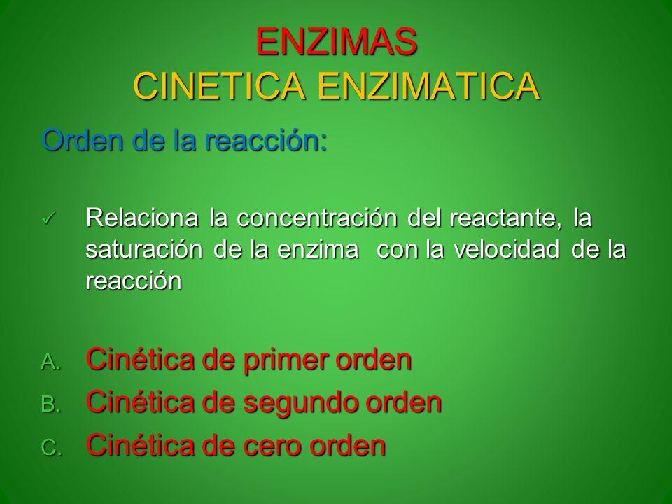 ENZIMAS CINETICA ENZIMATICA Orden de la reacción: Relaciona la concentración del reactante, la saturación de la enzima con la velocidad de la reacción