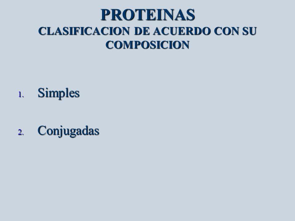 PROTEINAS COMPOSICION 1.Simples: solo contienen aminoácidos.