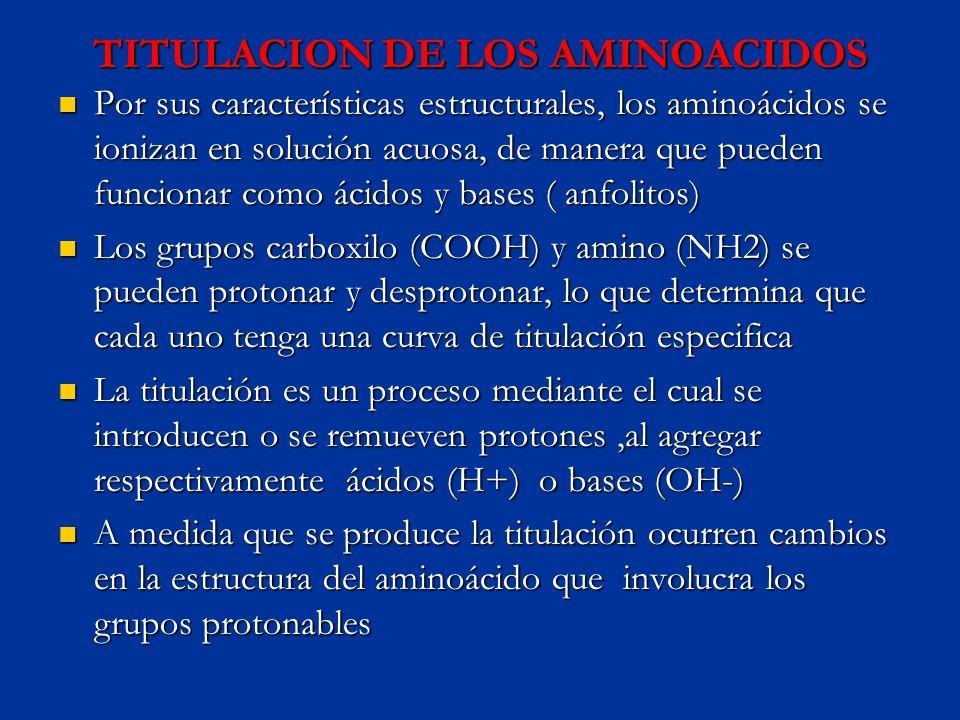 TITULACION DE LOS AMINOACIDOS Por sus características estructurales, los aminoácidos se ionizan en solución acuosa, de manera que pueden funcionar com
