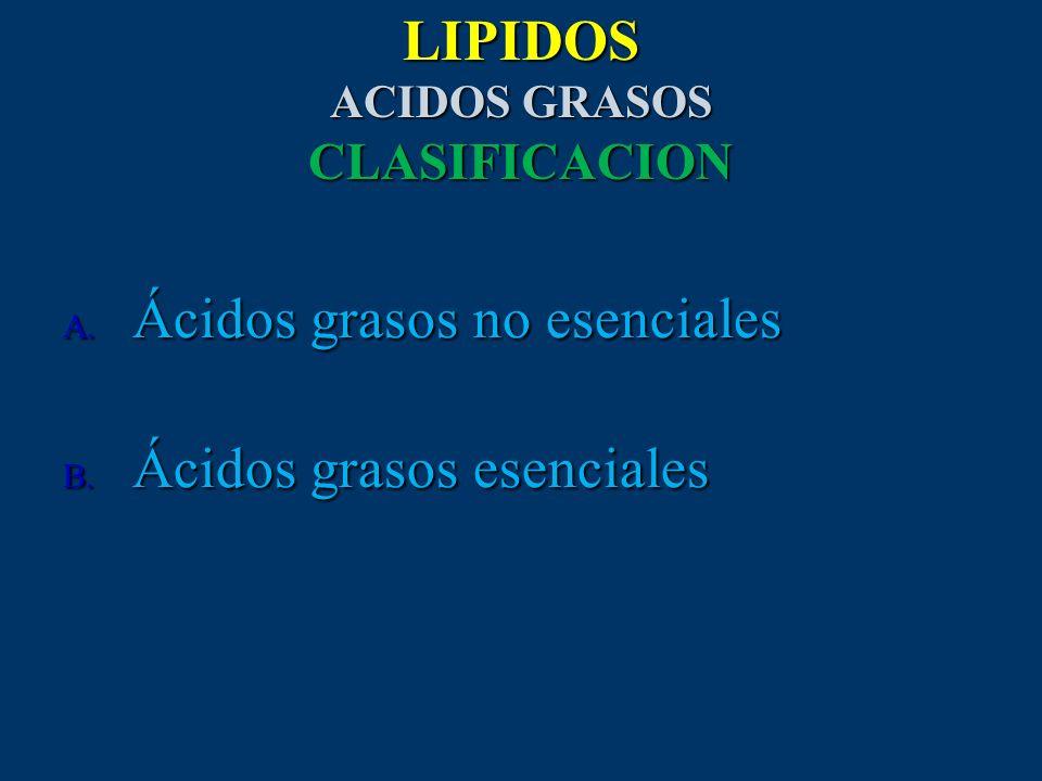 LIPIDOS ACIDOS GRASOS CLASIFICACION A. Ácidos grasos no esenciales B. Ácidos grasos esenciales