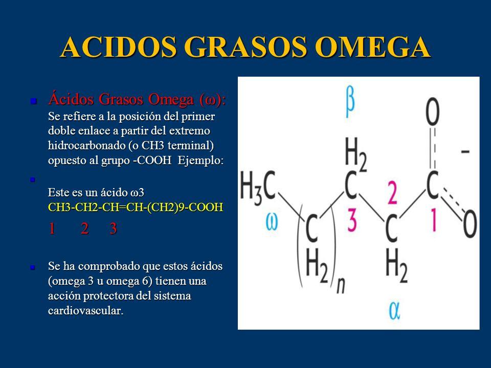 ACIDOS GRASOS OMEGA Ácidos Grasos Omega (ω): Se refiere a la posición del primer doble enlace a partir del extremo hidrocarbonado (o CH3 terminal) opu