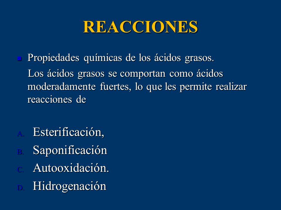 REACCIONES Propiedades químicas de los ácidos grasos. Propiedades químicas de los ácidos grasos. Los ácidos grasos se comportan como ácidos moderadame