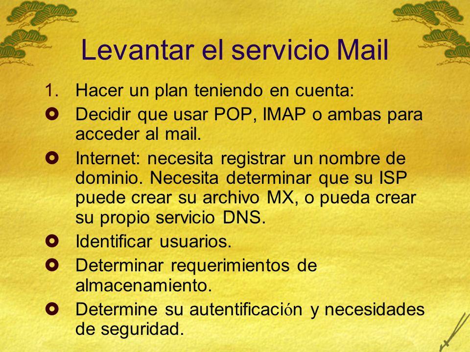 Levantar el servicio Mail 1.Hacer un plan teniendo en cuenta: Decidir que usar POP, IMAP o ambas para acceder al mail.