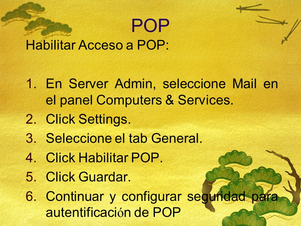 POP Habilitar Acceso a POP: 1.En Server Admin, seleccione Mail en el panel Computers & Services. 2.Click Settings. 3.Seleccione el tab General. 4.Clic