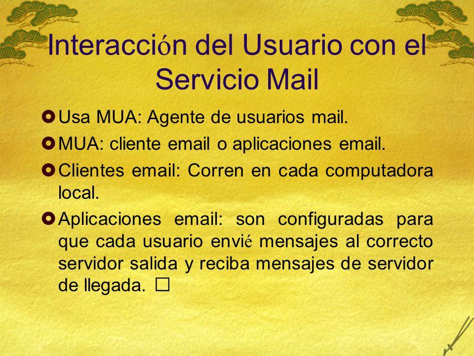 Interacci ó n del Usuario con el Servicio Mail Usa MUA: Agente de usuarios mail.