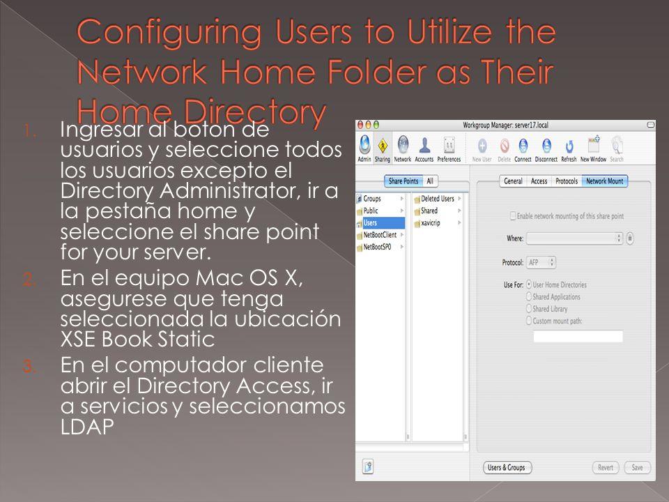 1. Ingresar al boton de usuarios y seleccione todos los usuarios excepto el Directory Administrator, ir a la pestaña home y seleccione el share point