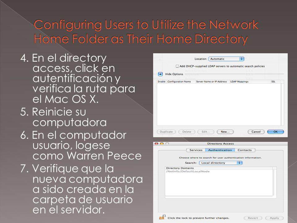 4. En el directory access, click en autentificación y verifica la ruta para el Mac OS X.