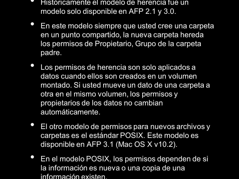 Históricamente el modelo de herencia fue un modelo solo disponible en AFP 2.1 y 3.0. En este modelo siempre que usted cree una carpeta en un punto com