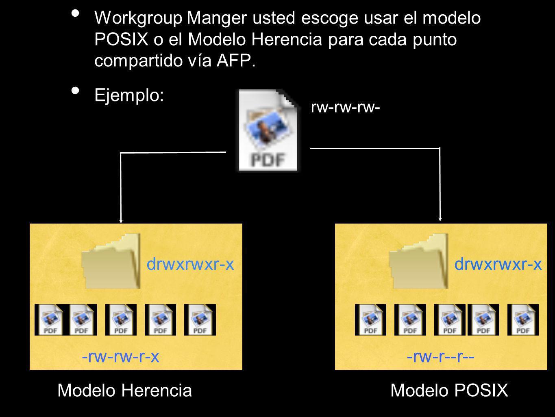 Workgroup Manger usted escoge usar el modelo POSIX o el Modelo Herencia para cada punto compartido vía AFP. Ejemplo: -rw-rw-rw- drwxrwxr-x -rw-rw-r-x-