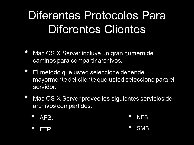 AFS: Apple Filing Protocol es usado principalmente para compartir archivos con clientes Macintosh, desde Mac OS 9 hasta la nueva versión Mac OS X 10.5 Leopard.
