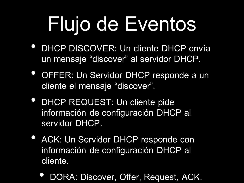 Flujo de Eventos DHCP DISCOVER: Un cliente DHCP envía un mensaje discover al servidor DHCP. OFFER: Un Servidor DHCP responde a un cliente el mensaje d