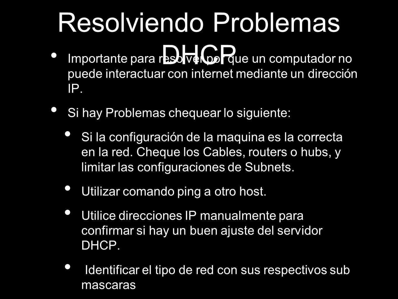 Resolviendo Problemas DHCP Importante para resolver por que un computador no puede interactuar con internet mediante un dirección IP. Si hay Problemas